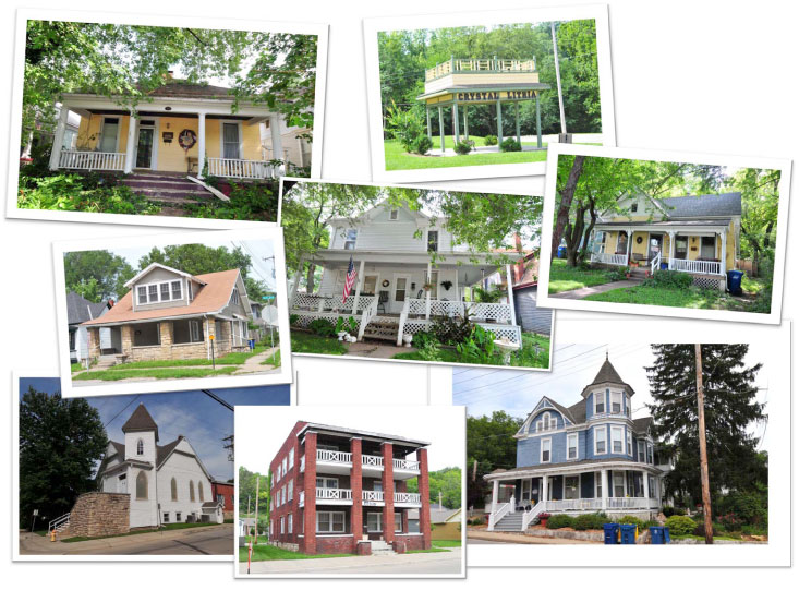 Collage historic buildings in Boarding House Historic District