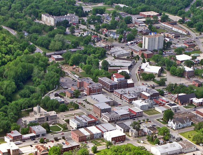 Aerial downtown Excelsior Springs, Missouri