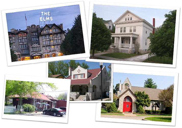Collage historic buildings in Elms Historic District