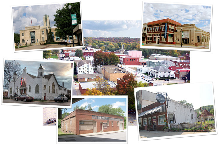 Collage of historic buildings in Hall of Waters Historic District