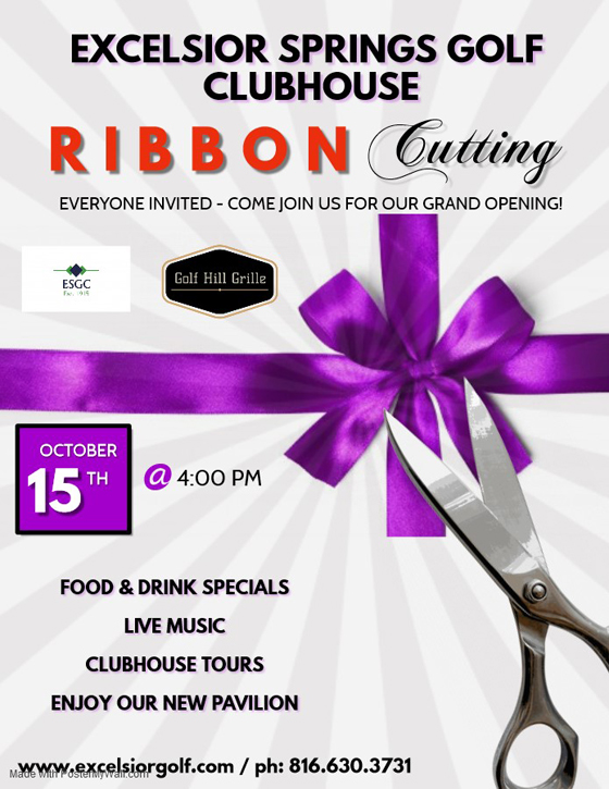 Invitation to Golf Course Clubhouse Ribbon Cutting October 15, 2019 4 pm